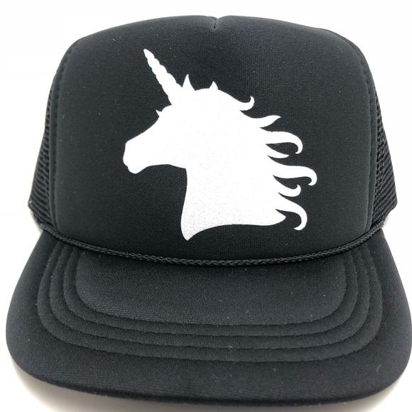 94a370a57be Youth white glitter unicorn black trucker hat